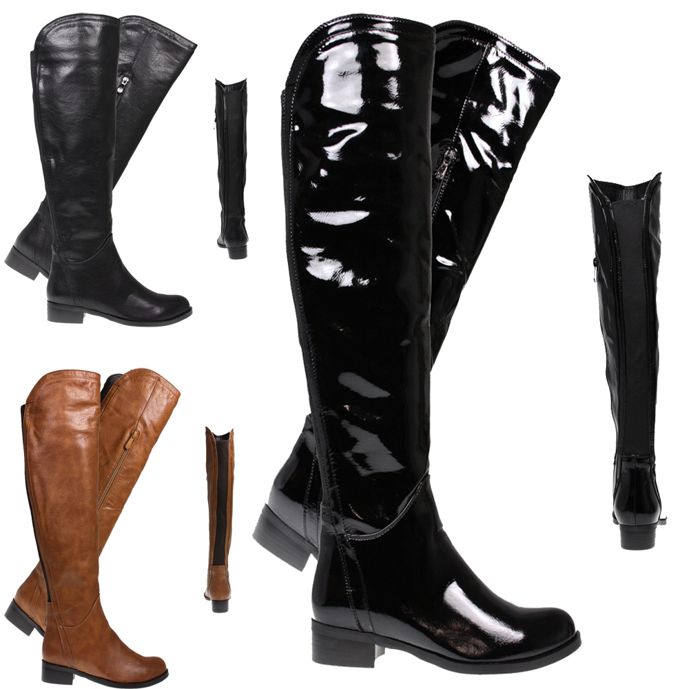 WOMENS LADIES LONG KNEE HIGH FLAT RIDING ZIP GUSSET CALF WINTER ...